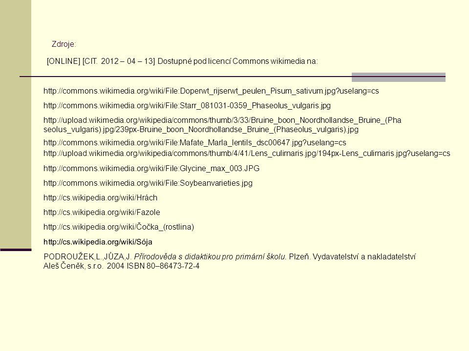 Zdroje: [ONLINE] [CIT. 2012 – 04 – 13] Dostupné pod licencí Commons wikimedia na:
